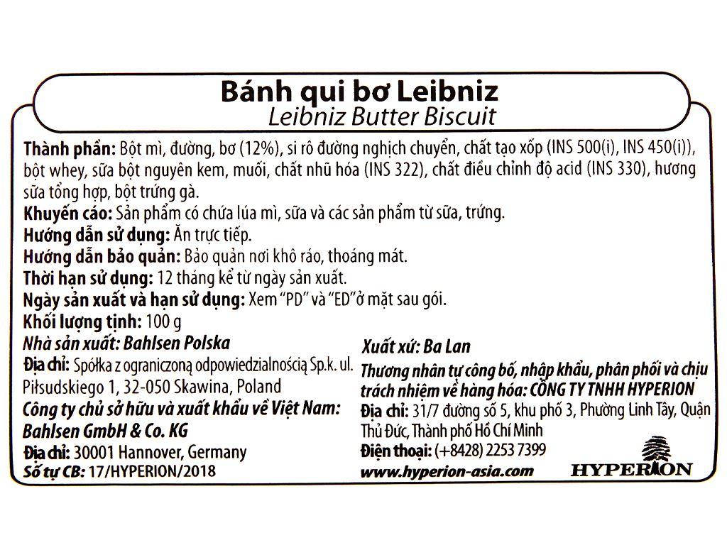 Bánh quy bơ Bahlsen Leibniz gói 100g 4