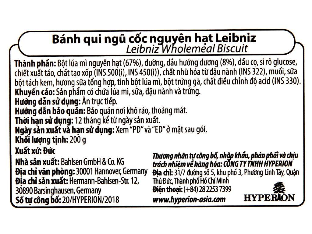 Bánh quy ngũ cốc nguyên hạt Leibniz Bahlsen gói 200g 4