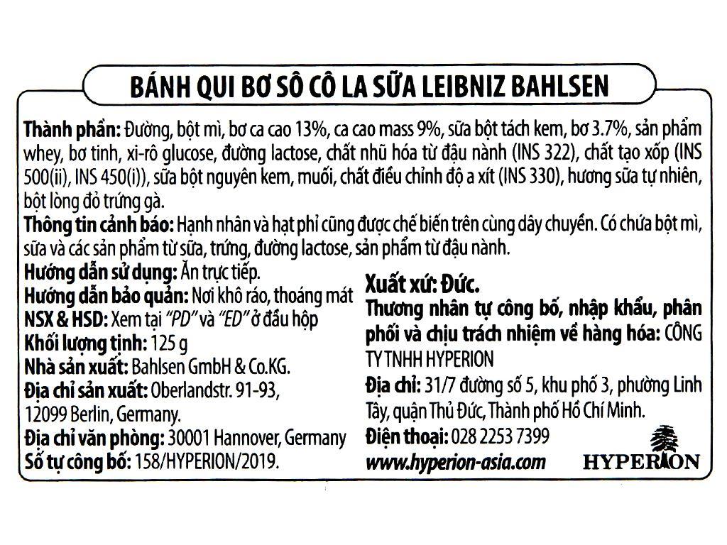 Bánh quy bơ socola sữa Bahlsen Leibniz hộp 125g 5