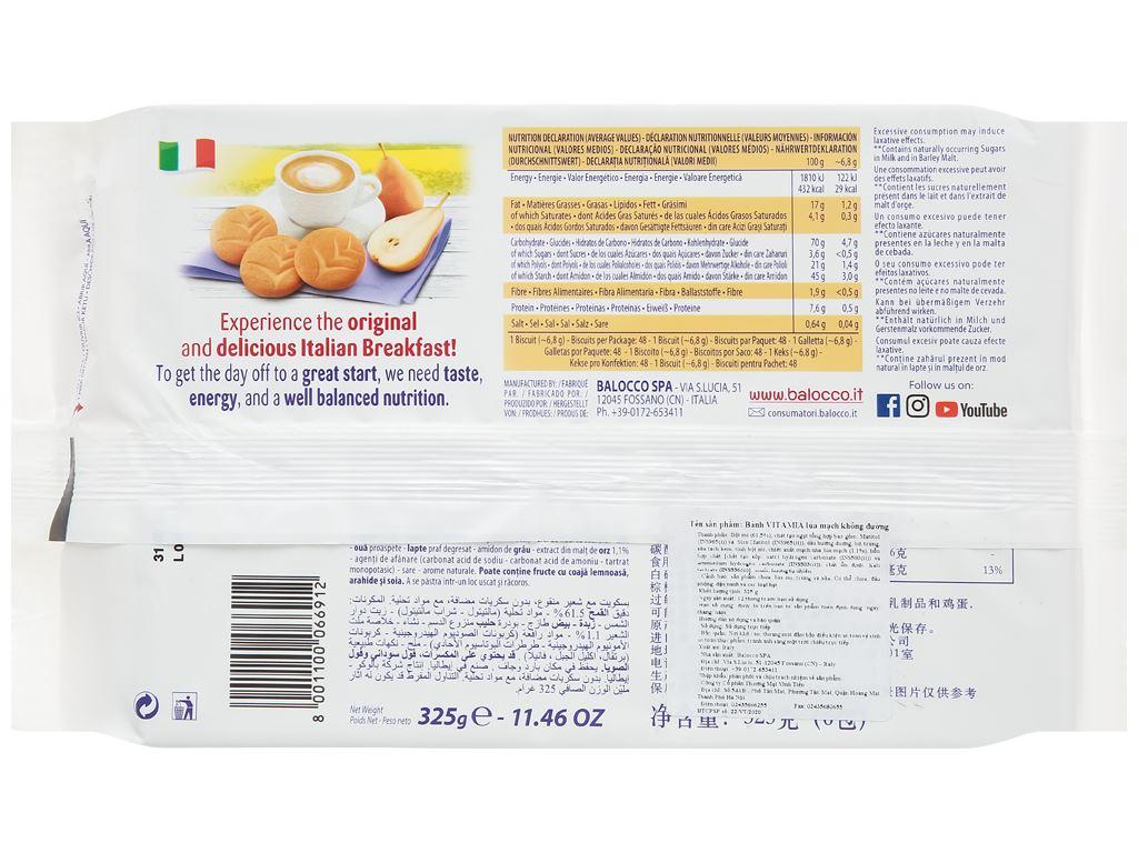 Bánh quy lúa mạch không đường Vitamia gói 325g 2