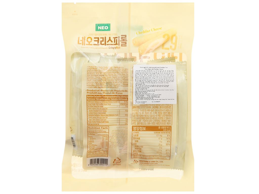 Bánh ngũ cốc cuộn kem phô mai Cheddar Neo gói 80g 2