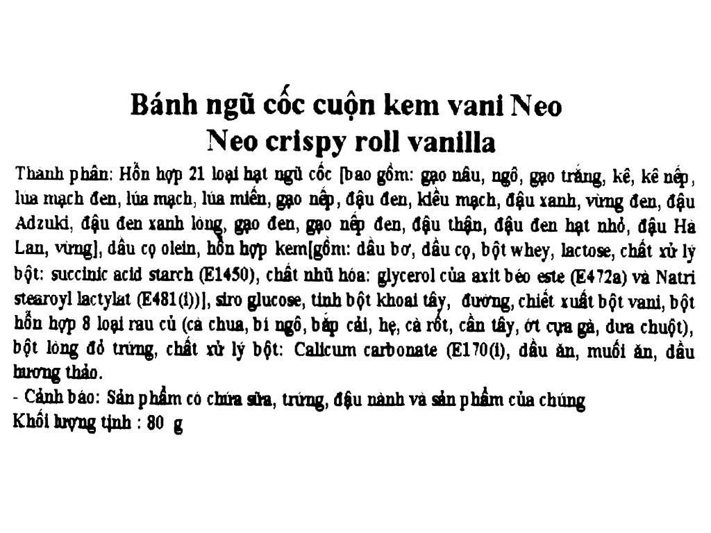Bánh ngũ cốc cuộn kem vani Neo gói 80g 5