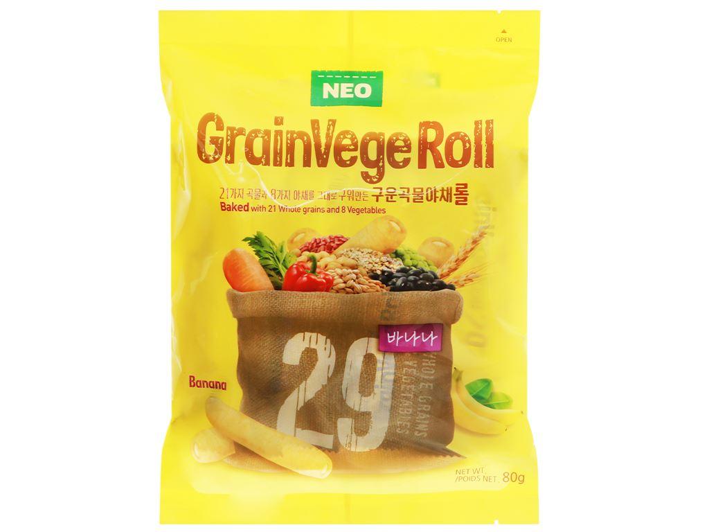 Bánh ngũ cốc cuộn kem hương chuối Neo gói 80g 1