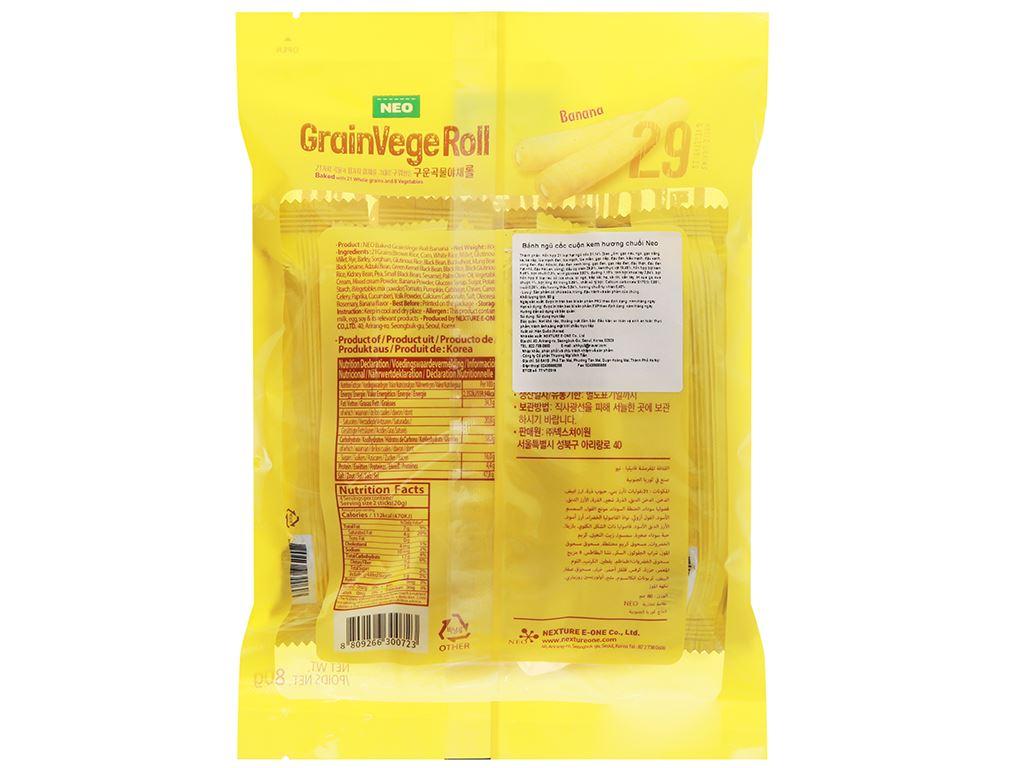 Bánh ngũ cốc cuộn kem hương chuối Neo gói 80g 2