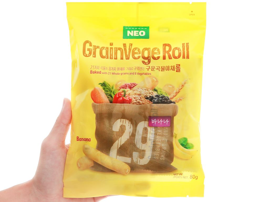 Bánh ngũ cốc cuộn kem hương chuối Neo gói 80g 6