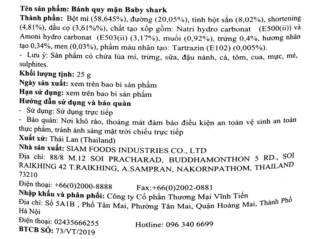 Bánh quy mặn Mai Tri Baby Shark gói 25g 3