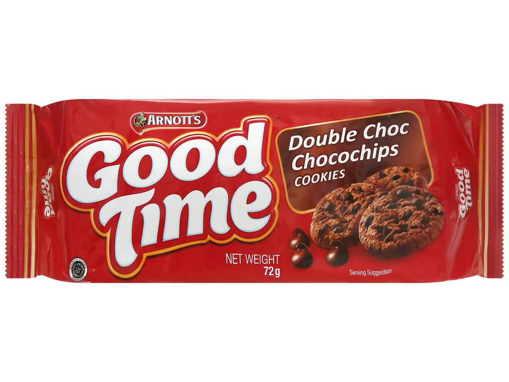 Bánh quy Socola Arnott's Goodtime Double Choc Chocochips Cookies gói 72g 1