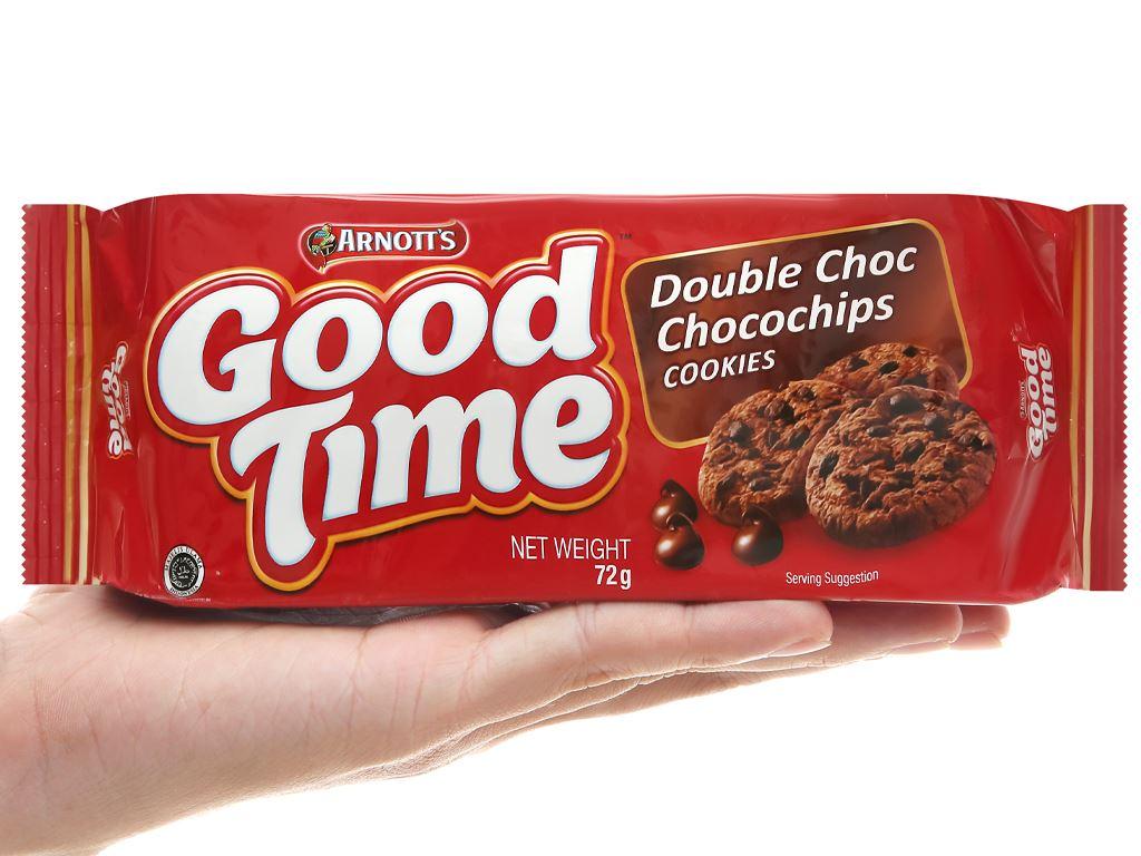 Bánh quy Socola Arnott's Goodtime Double Choc Chocochips Cookies gói 72g 4