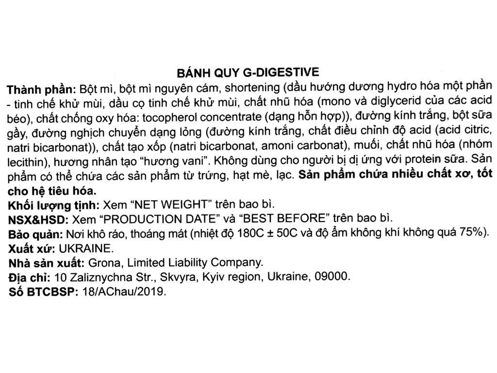 Bánh quy Grona G-Digestive hộp 325g 4
