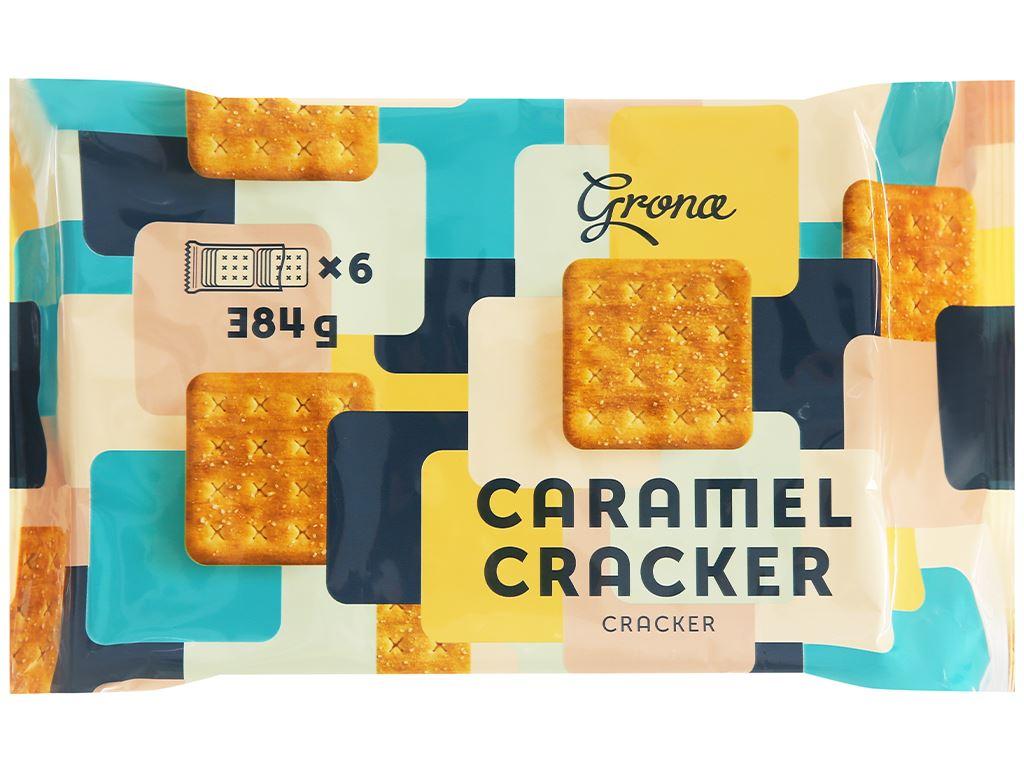Bánh quy Grona Caramel Cracker gói 384g 1