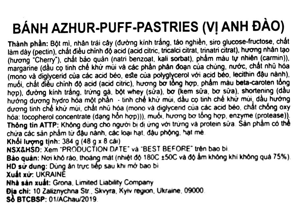 Bánh quy Grona Azhur vị anh đào gói 384g 3