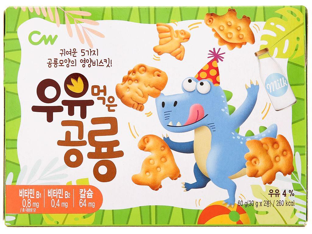 Bánh quy sữa khủng long CW hộp 60g 1