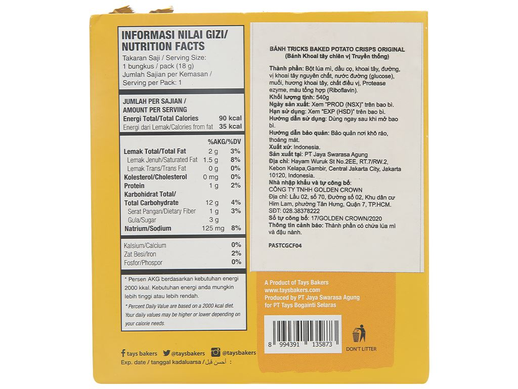 Bánh khoai tây chiên vị tự nhiên Tricks hộp 540g 3