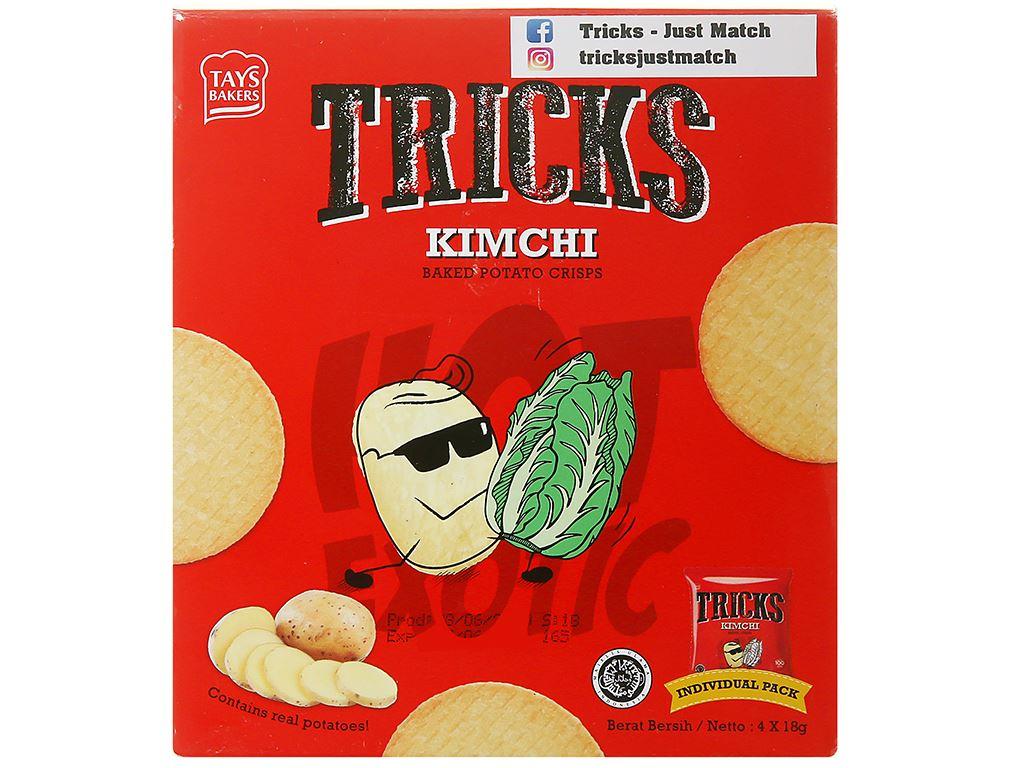 Bánh khoai tây chiên vị kim chi Tricks hộp 72g 2