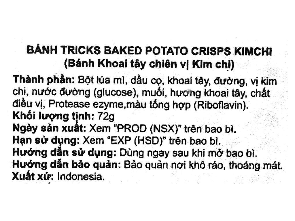 Bánh khoai tây chiên vị kim chi Tricks hộp 72g 6
