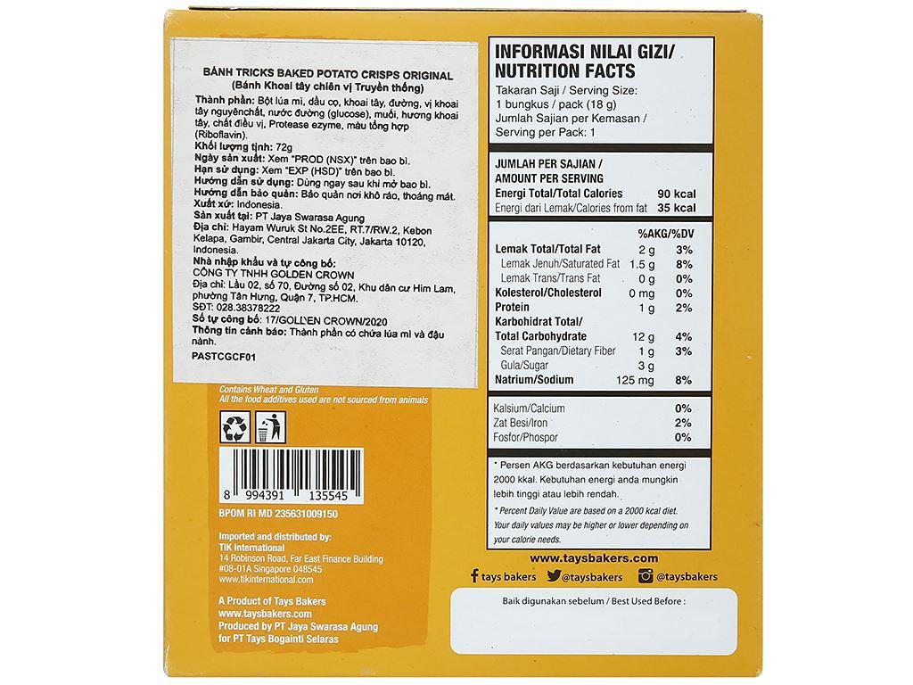 Bánh khoai tây chiên vị tự nhiên Tricks hộp 72g 3