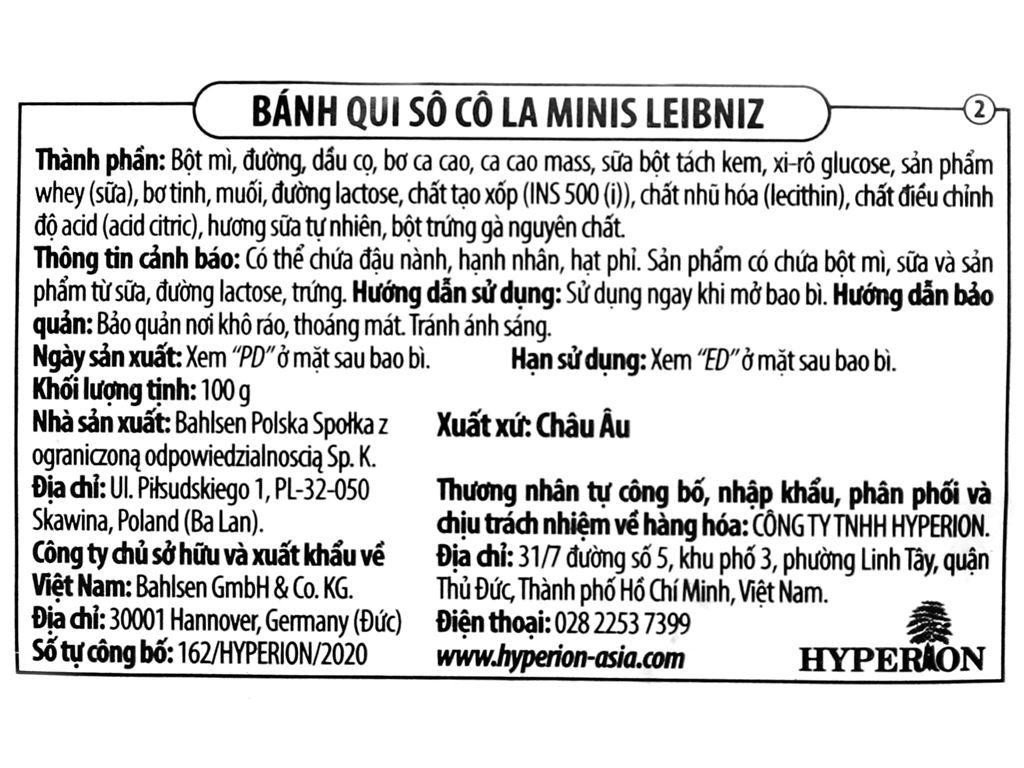Bánh quy socola Minis Leibniz gói 100g 3