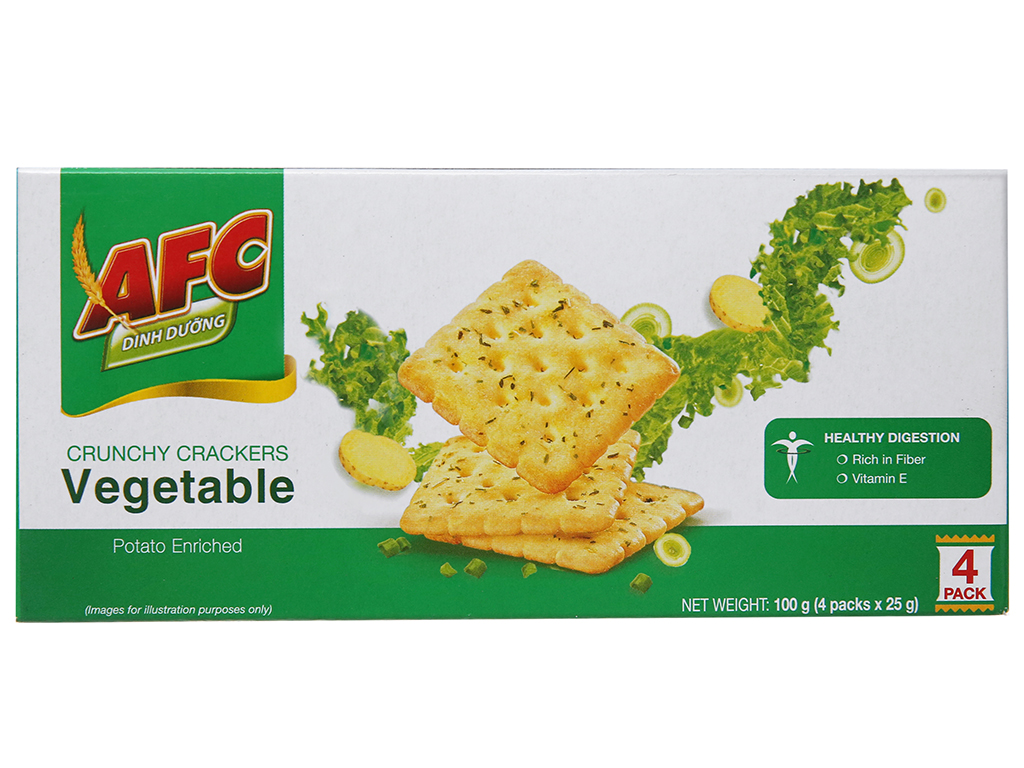 Bánh quy dinh dưỡng vị rau AFC hộp 100g 2