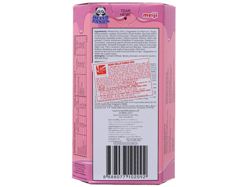 Bánh gấu nhân kem dâu Meiji Hello Panda hộp 50g 3
