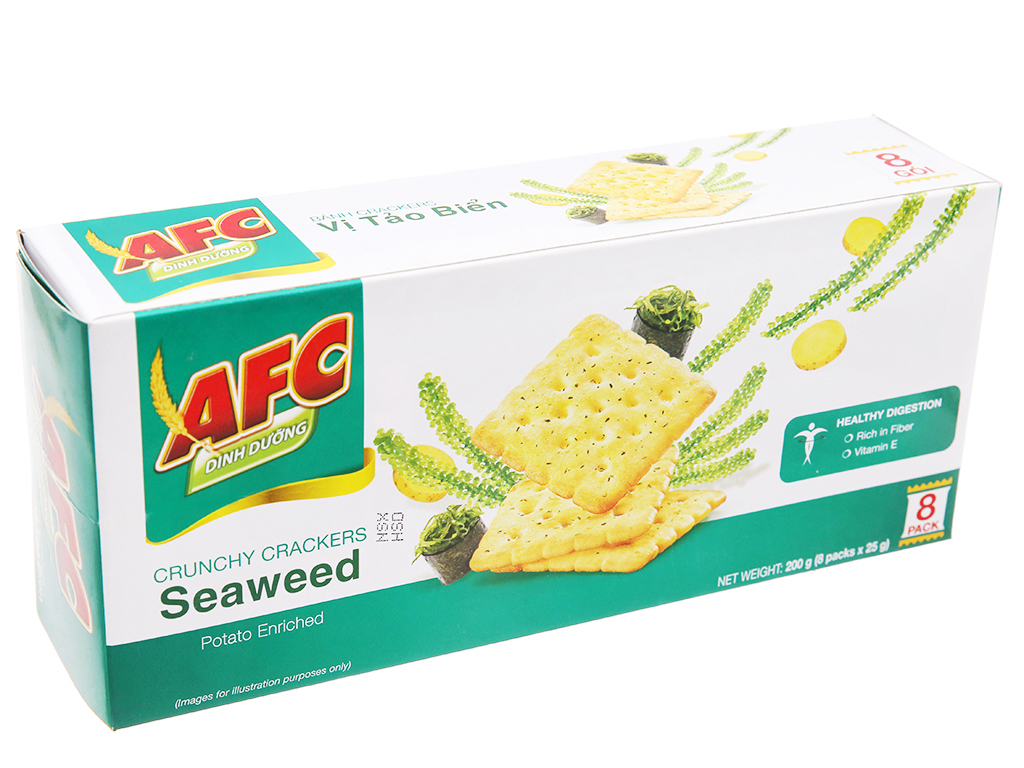 Bánh cracker vị tảo biển AFC Dinh Dưỡng hộp 200g 1