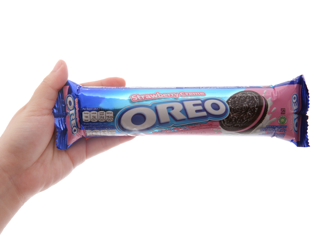 Bánh quy kem dâu Oreo gói 137g 5