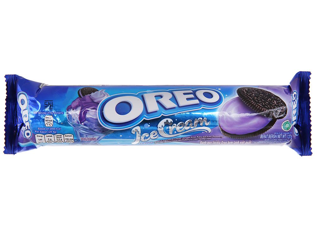 Bánh quy socola nhân kem việt quất Oreo gói 137g 2