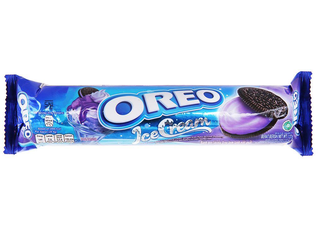 Bánh quy socola Oreo kem lạnh việt quất gói 133g 1