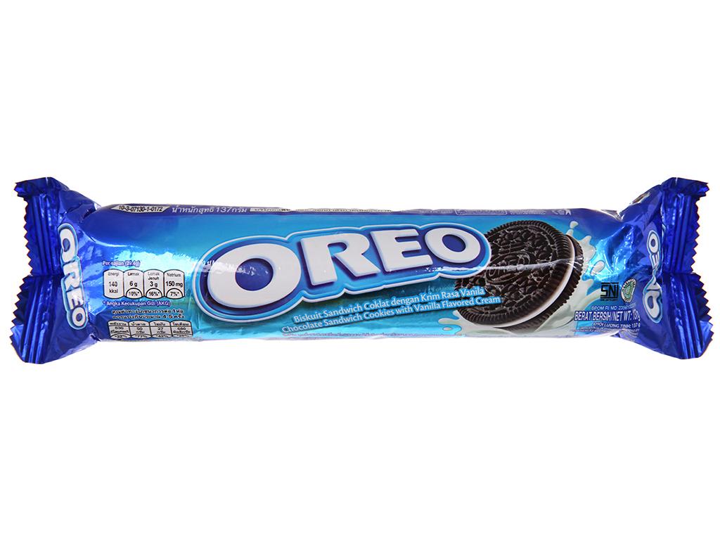 Bánh quy socola nhân kem vani Oreo gói 137g 2