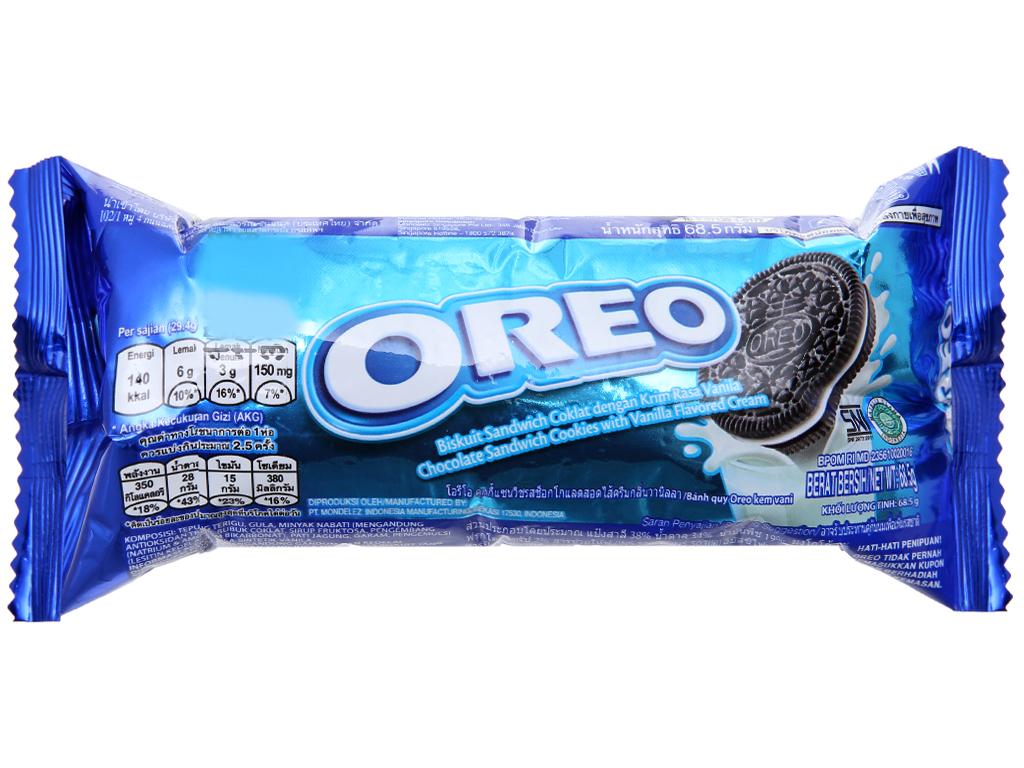 Bánh quy socola Nhân kem vani Oreo gói 66.5g 2