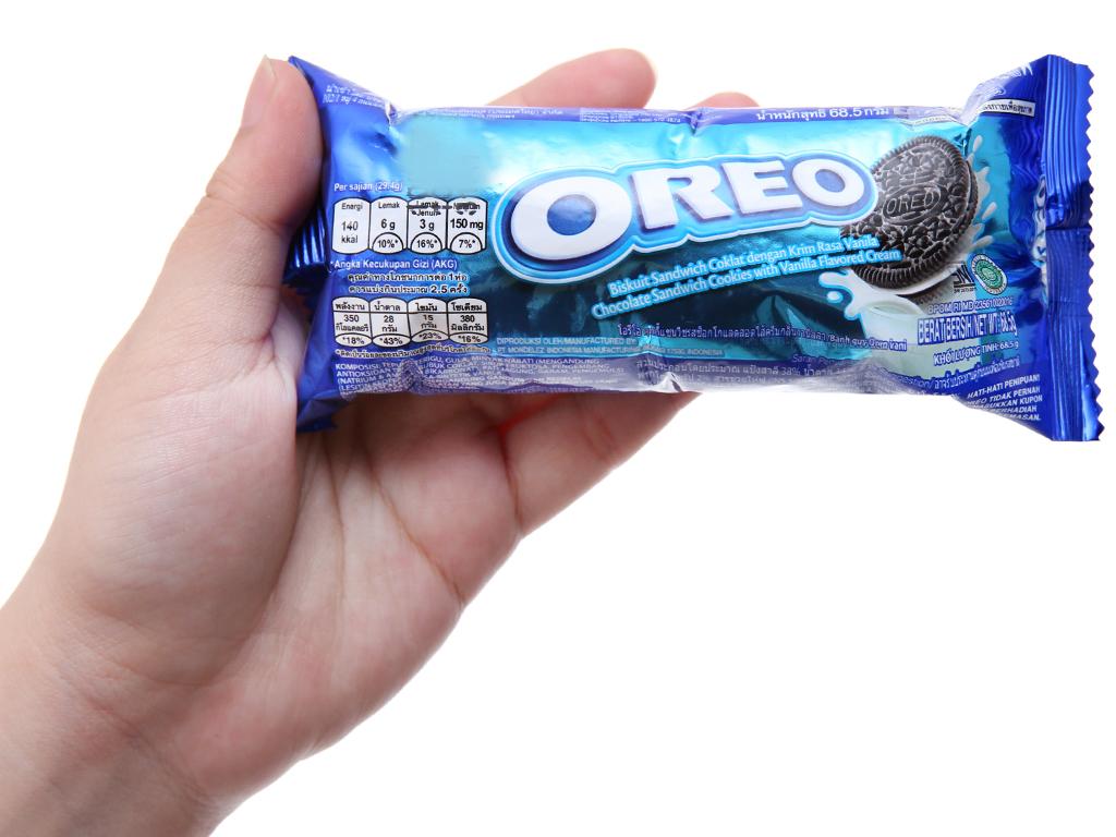 Bánh quy socola Nhân kem vani Oreo gói 66.5g 5