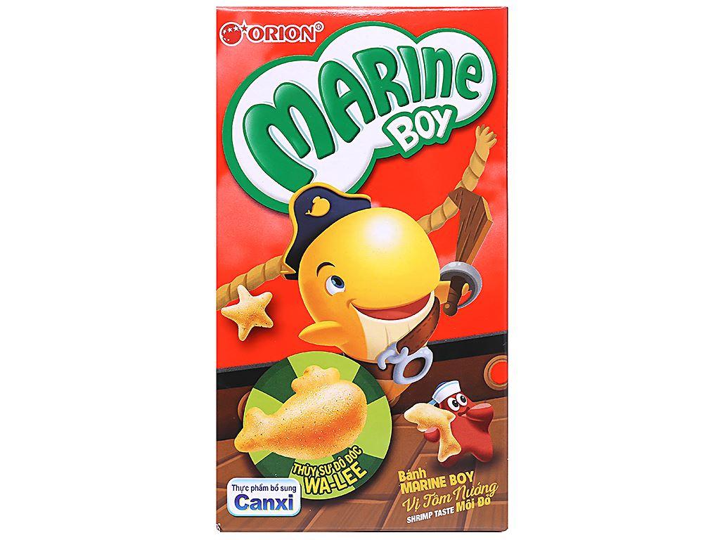 Bánh cá vị tôm nướng môi đỏ Orion Marine Boy hộp 32g 2