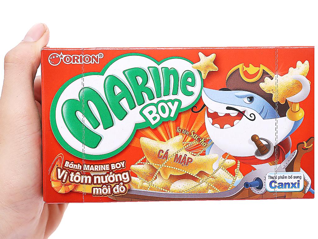 Bánh cá vị tôm nướng môi đỏ Orion Marine Boy hộp 32g 3