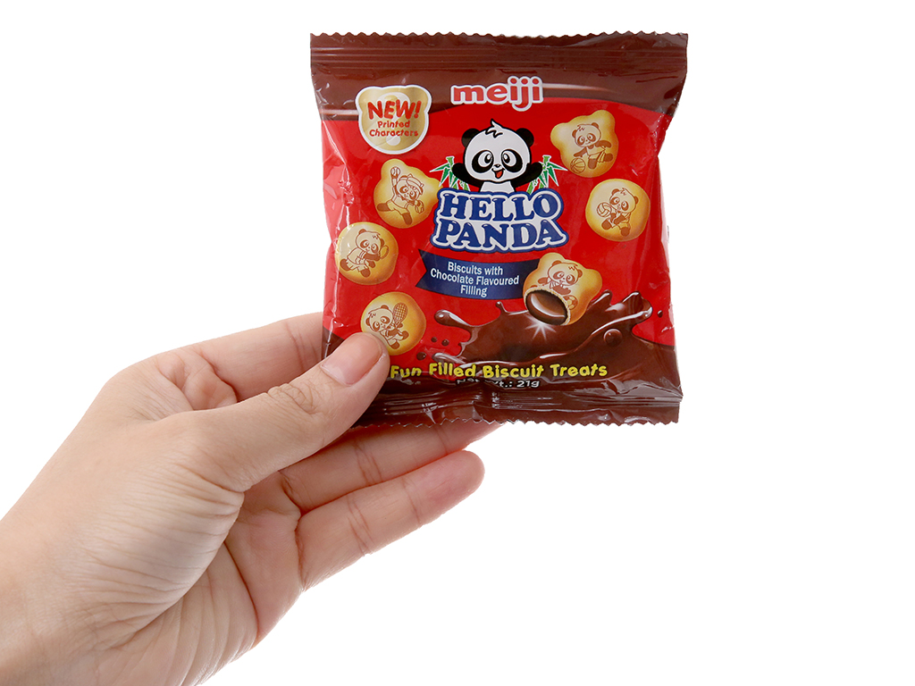 Bánh gấu nhân kem socola Meiji Hello Panda gói 21g 5