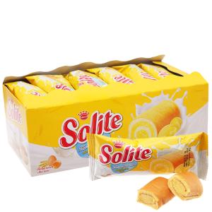 Bánh bông lan cuộn kem vị bơ sữa Solite hộp 360g (20 cái)