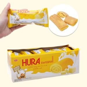 Bánh trứng cuộn kem bơ sữa Hura Swissroll hộp 360g (20 cái)