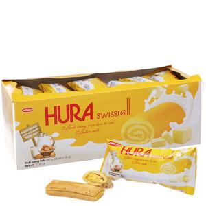Bánh trứng cuộn kem bơ sữa Hura hộp 360g (20 cái)