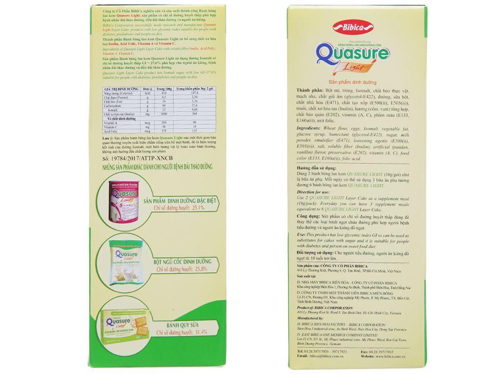Bánh bông lan cho người tiểu đường hương cốm Quasure Light hộp 126g (7 cái) 2