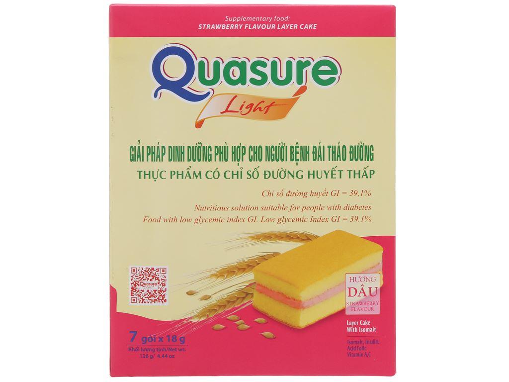 Hộp 7 bánh bông lan cho người tiểu đường hương dâu Quasure Light 18g 1
