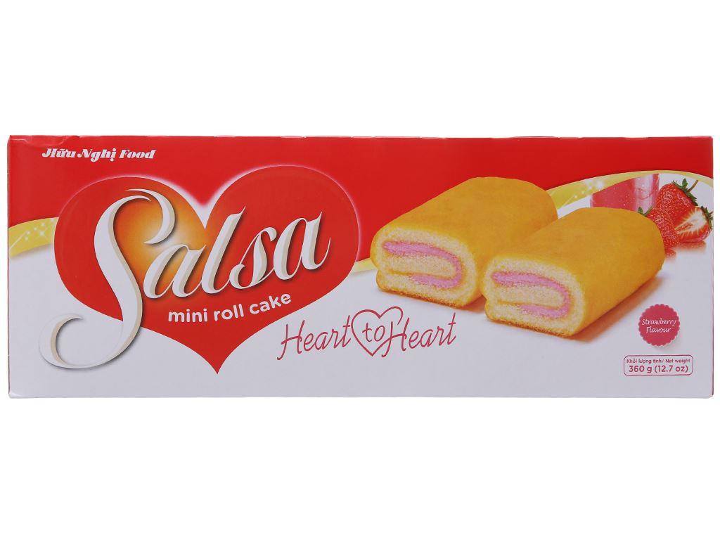 Hộp 20 bánh bông lan cuộn kem hương dâu Salsa 18g 2