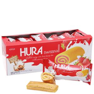 Bánh trứng cuộn kem hương dâu Hura hộp 360g (20 cái)
