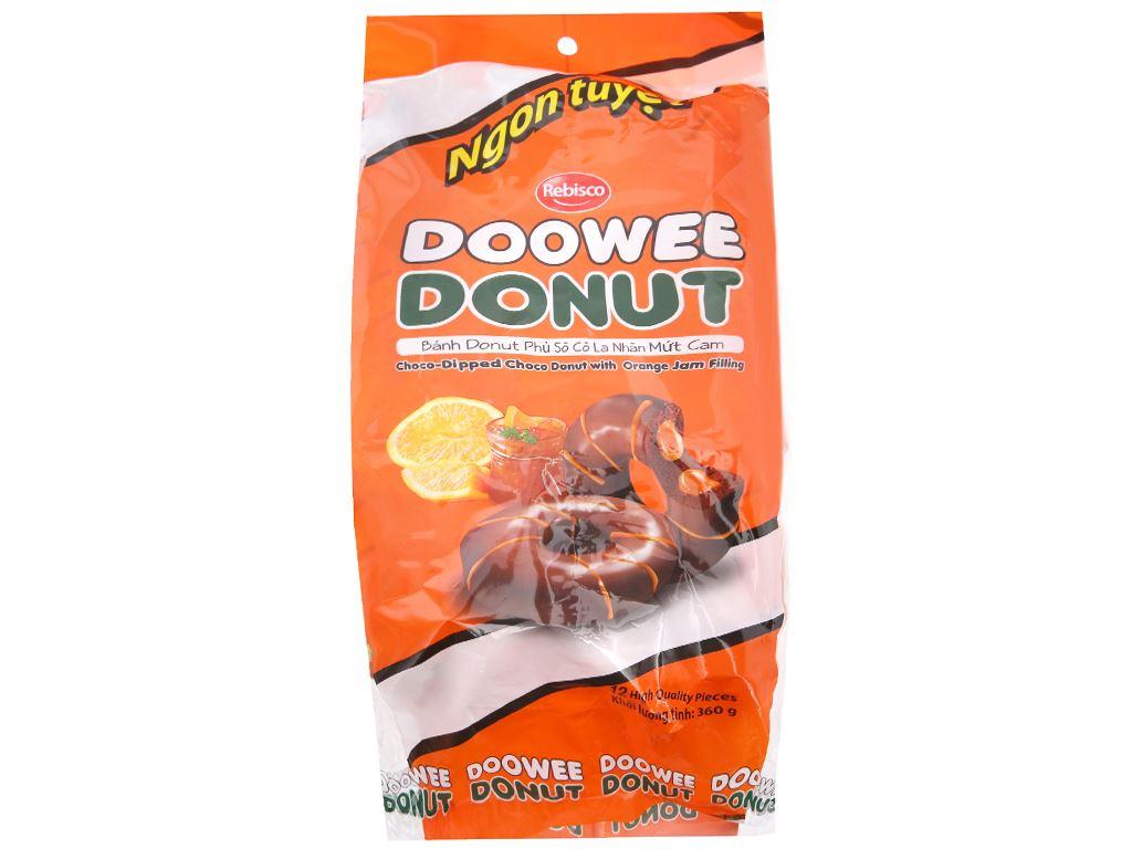 Bánh phủ sô cô la nhân mứt cam Doowee Donut gói 360g 12 1