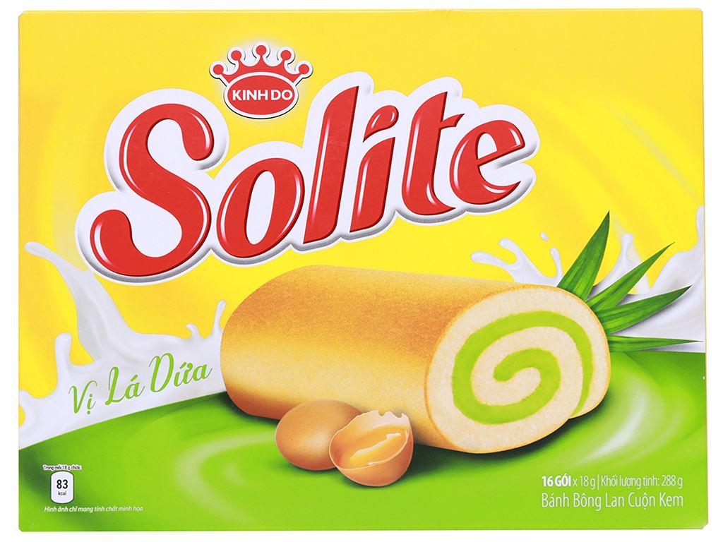 Bánh bông lan cuộn kem vị lá dứa Solite hộp 288g (16 cái) 1