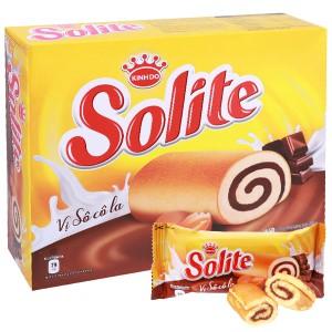 Bánh bông lan cuộn kem vị socola Solite hộp 288g (16 gói)