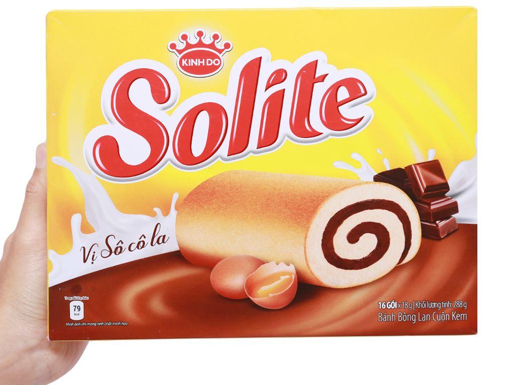 Bánh bông lan cuộn kem vị socola Solite hộp 288g (16 cái) 5