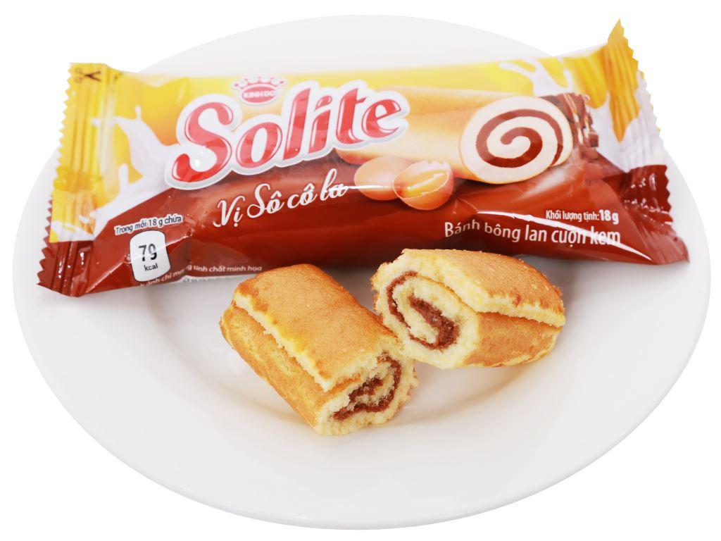 Bánh bông lan cuộn kem vị socola Solite hộp 288g (16 cái) 6