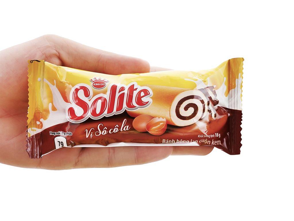 Bánh bông lan cuộn kem vị socola Solite hộp 360g (20 cái) 7