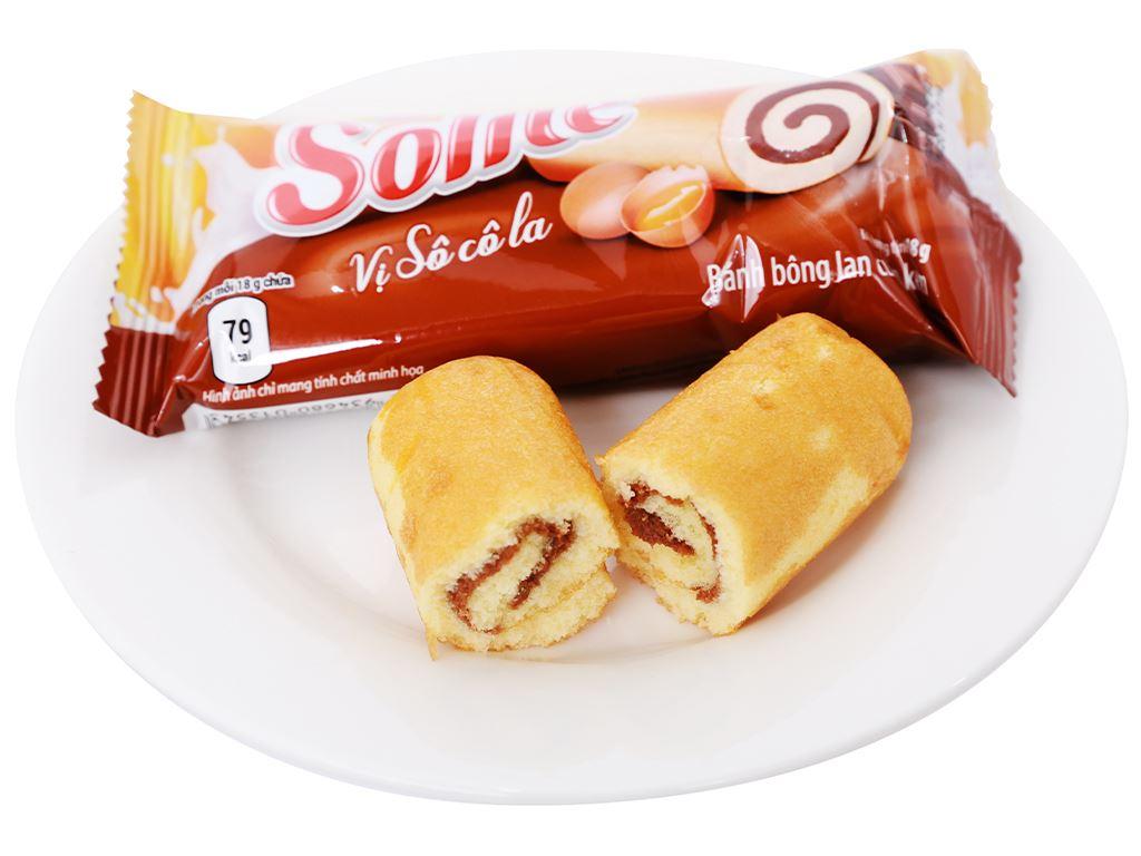 Bánh bông lan cuộn kem vị socola Solite hộp 360g (20 cái) 6