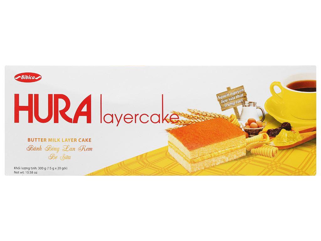 Bánh bông lan kem bơ sữa Hura Layercake hộp 300g (20 gói) 1