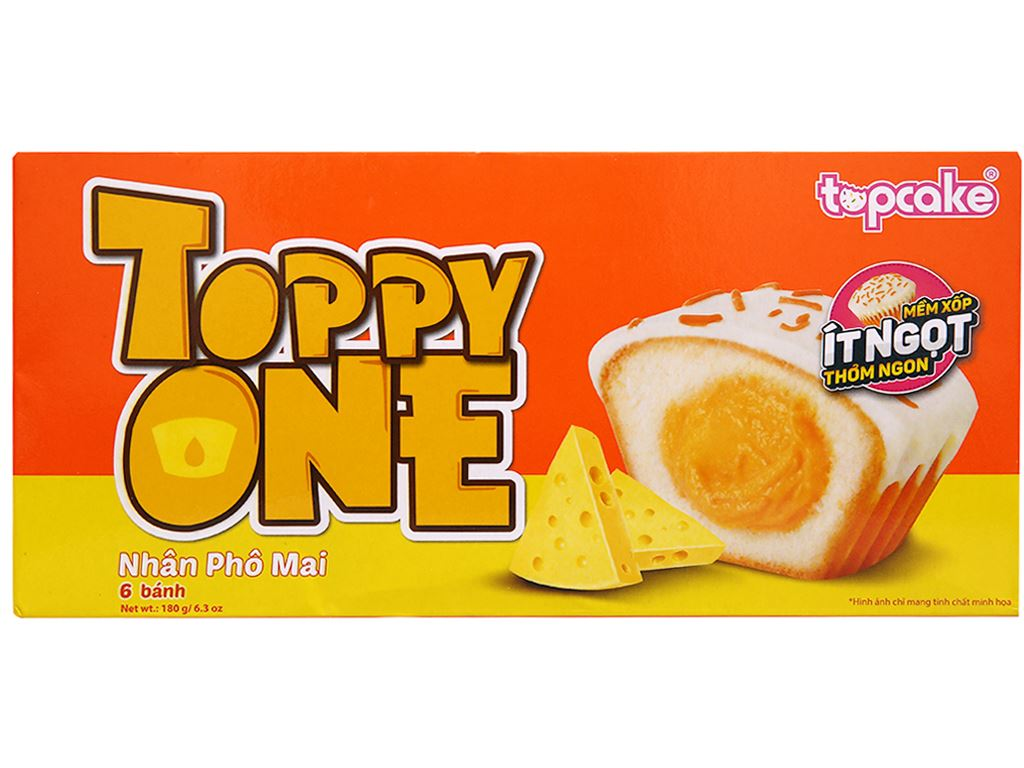 Bánh phủ socola trắng nhân phô mai Toppy One hộp 180g (6 cái) 1