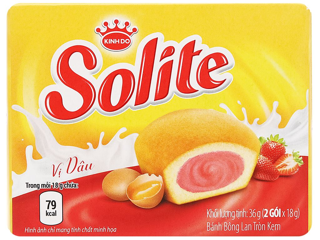 Bánh bông lan tròn kem vị dâu Solite hộp 36g (2 cái) 2